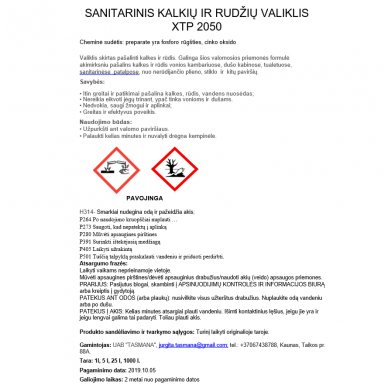 Sanitarinis kalkių ir rudžių valiklis XTP 2050 5L 2